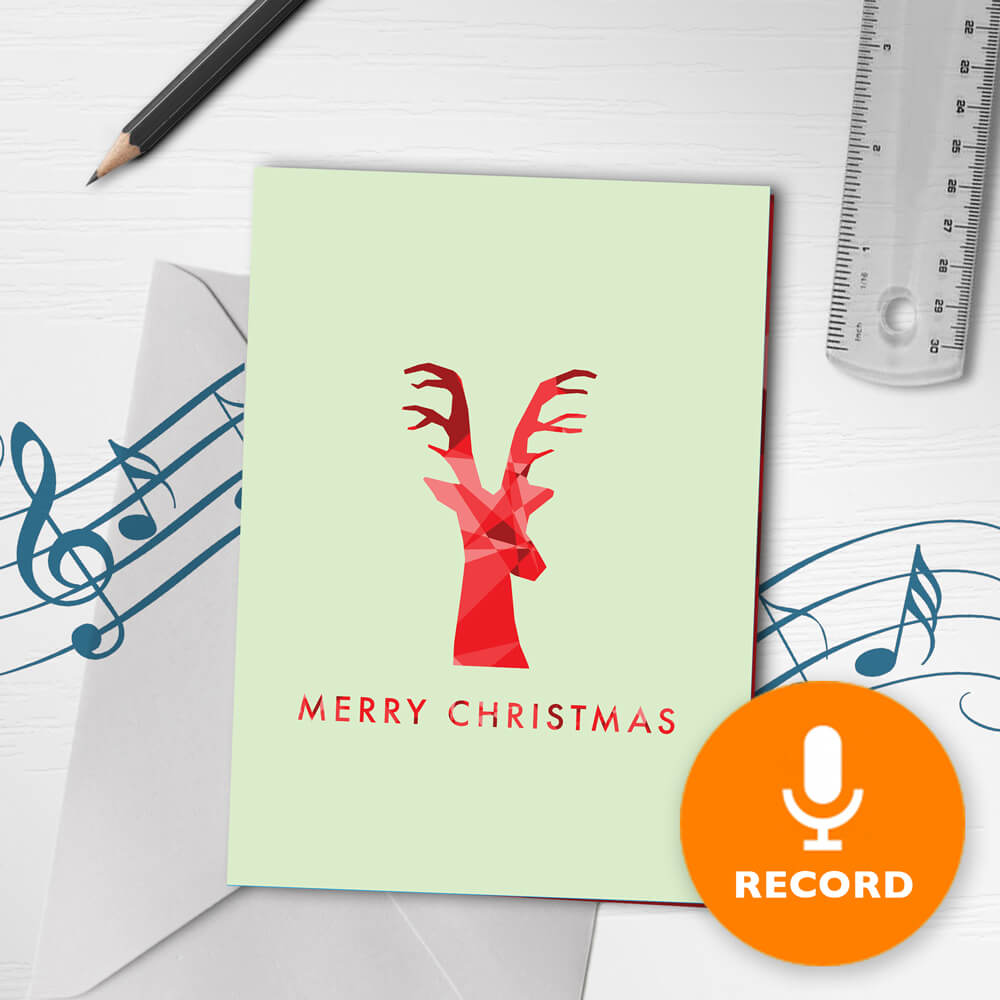 120s Recordable Merry Christmas Card Minimalist Reindeer Red Musical