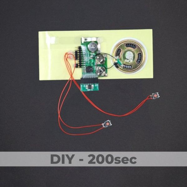 DIY Kit - Greeting Card Sound Module + 2 Buttons - 200 Sec