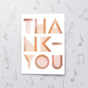 Bold Thank You – Musical Thank You Card - Metallic Foil