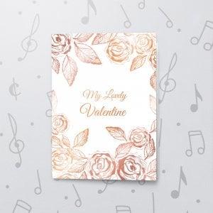 Valentines Roses – Musical Valentines Card - Metallic Foil