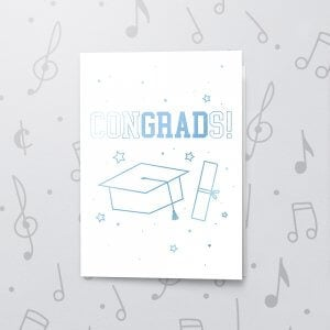 Congrads! – Musical Graduation Card - Metallic Foil
