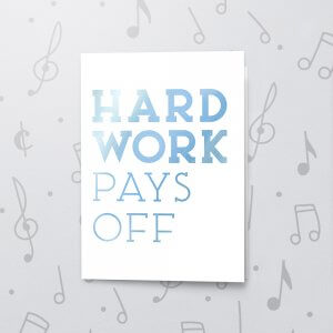 Hard Work Pays Off – Musical Retirement Card - Metallic Foil