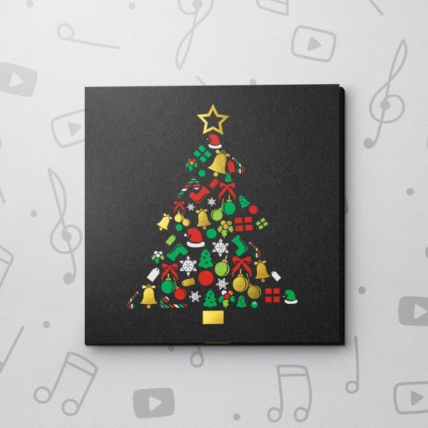 Christmas Tree On Black Paper – Christmas Video Greeting Card